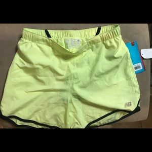 New Balance yellow running shorts NWT